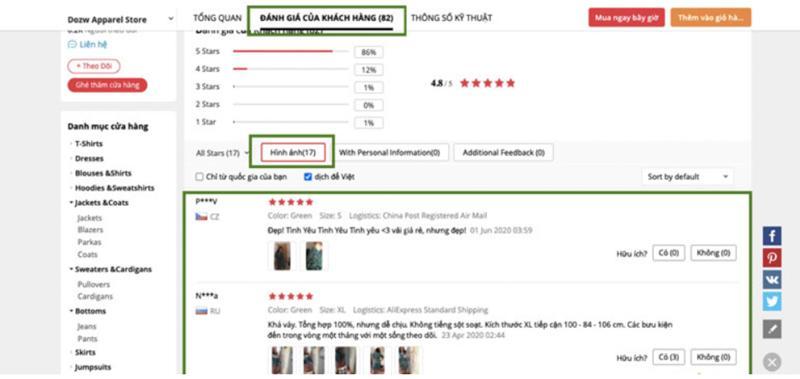 Xem feedback, phản hồi của khách hàng với sản phẩm mà shop đã bán